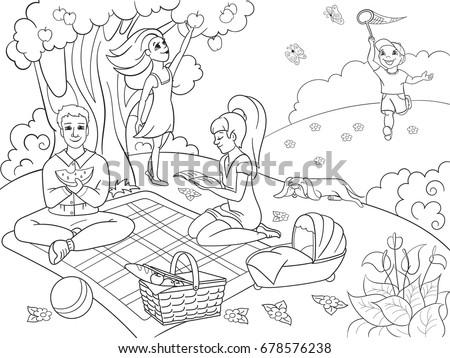 Picnic Nature Coloring Book Children Cartoon Stock Illustration ...