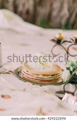 Picnic in the garden, delicious cake decorated with white flowers on plaid - stock photo