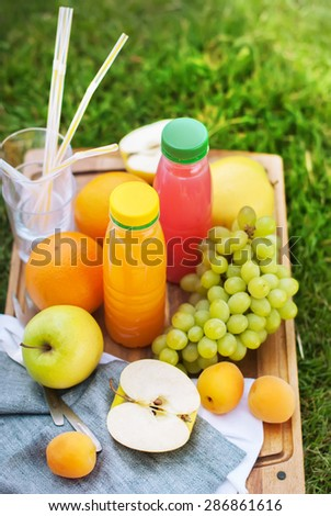 Picnic on Green Grass with Fresh Juice and Fruit, Apples, Apricot, Grapes, Orange - stock photo