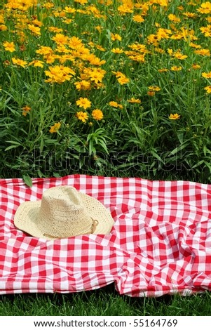 picnic on meadow by the yellow flowers - stock photo