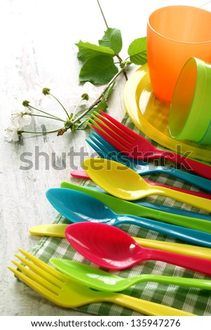 Picnic  plastic dishware on wooden boards - stock photo