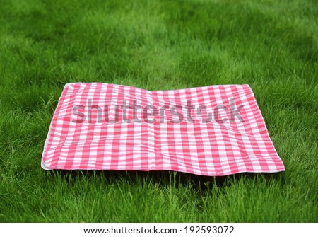 Picnic  Retro Tablecloth on Green Grass - stock photo