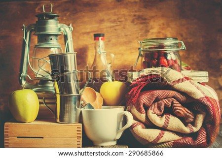 Picnic Set. Vintage objects. Toned image - stock photo