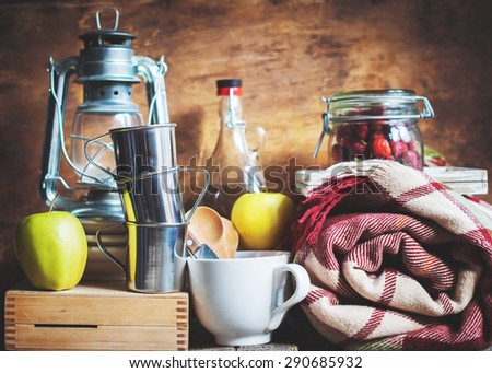 Picnic Set with Vintage objects, Dishes, Fruits, Lamp. Composition - stock photo