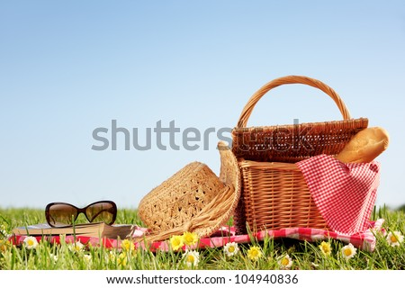 picnic setting on meadow with copy space. - stock photo