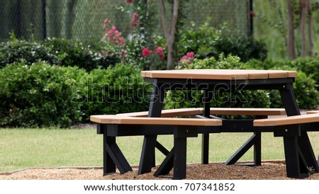 Picnic Table By Playground Photograph Picnic Stock Photo Edit Now - Playground picnic table