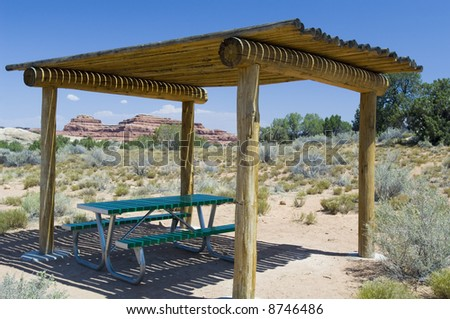 Picnic table - Canyonlands National Park Visitor Center, Utah