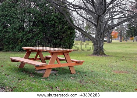 picnic table in autumn park with trees - stock photo