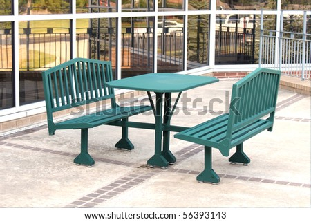 Picnic Table Outside Office Building Stock Photo Royalty Free - Office picnic table