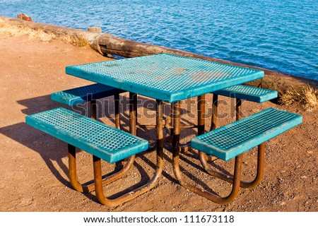 Picnic table retro looking square metal stock photo edit now picnic table retro looking square metal table with attached benches in turquoise blue textured metal watchthetrailerfo