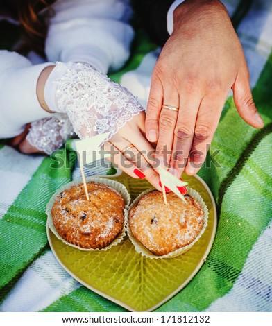 picnic wedding rings newlyweds - stock photo
