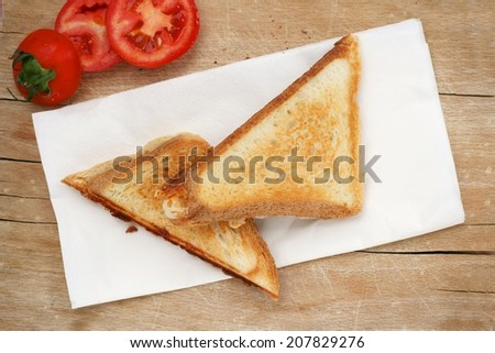 Picnic with triangle sandwich toast and fresh tomato - stock photo