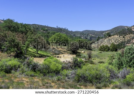 Picniking and camping facilities at Pinnacles National Park in Monterey County, California, near the Salinas Valley, on the California Central Coast - stock photo