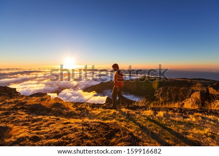 Pico Ruivo and Pico do Areeiro mountain peaks in  Madeira, Portugal - stock photo