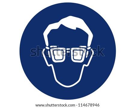 pictogram of eye protection - stock photo