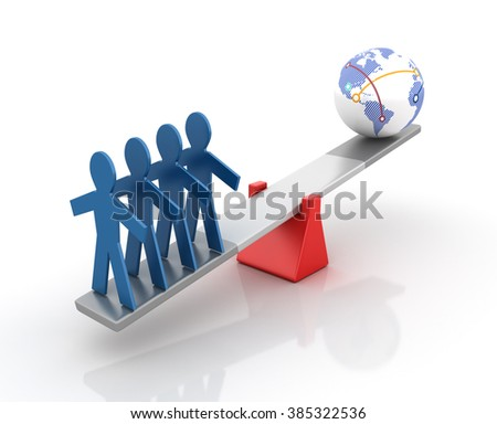 Pictogram People and Globe World Balancing on a Seesaw - Balance Concept - High Quality 3D Render   - stock photo