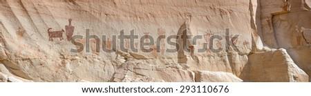 Pictographs at the Horseshoe Shelter Site in Horseshoe Canyon, Canyonlands National Park, UT - stock photo