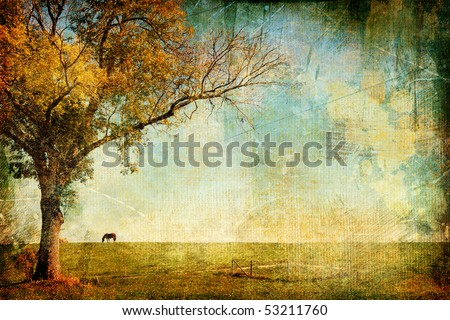 pictorial autumn landscape - artistic picture - stock photo