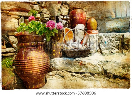 pictorial courtyards of Greece - stock photo