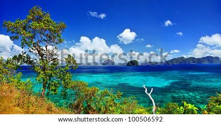 pictorial islands view - El nido , Palawan (philippines) - stock photo