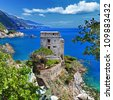 Pictorial Italian coast -Monterosso - stock photo