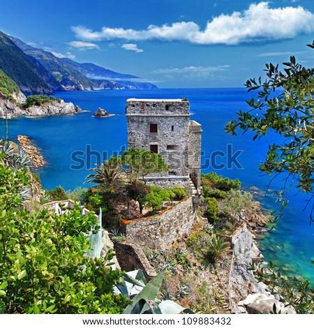 Pictorial Italian coast -Monterosso - stock photo