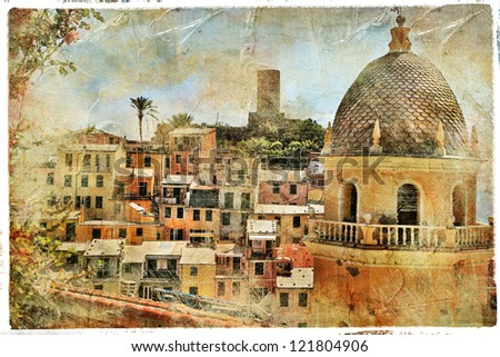 pictorial old streets of Italy,Vernazza, artistic picture - stock photo
