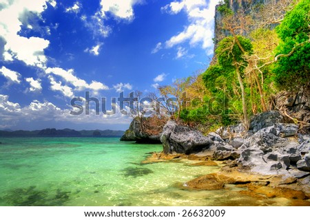 pictorial scene of rocky tropical beach - stock photo