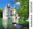 pictorial scene with castle and boat- Loire valley (from my castle' collection) - stock photo