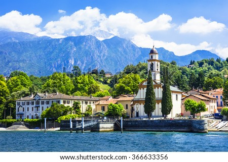 pictorial scenery of beautiful Lago di Como, Italy - stock photo