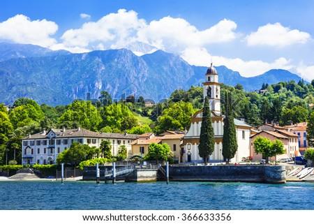 pictorial scenery of beautiful Lago di Como, Italy - stock photo
