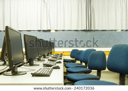 Picture a classroom equipped with personal computers with LCD monitors