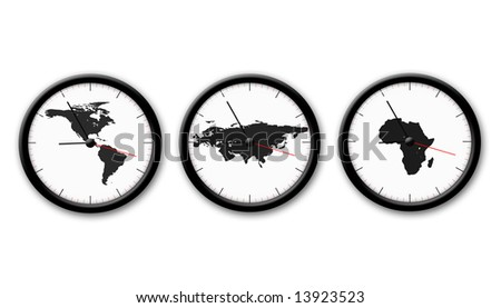 picture about three black and white watch on tha white background - stock photo