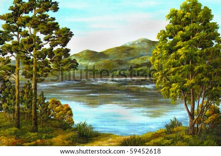 Picture an oil paint on a canvas: autumn, mountain lake - stock photo
