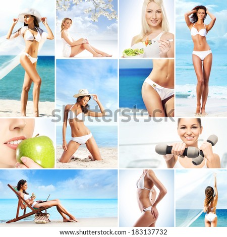 Picture collection: sport, fitness, nutrition, healthy eating, summer and resorts - stock photo