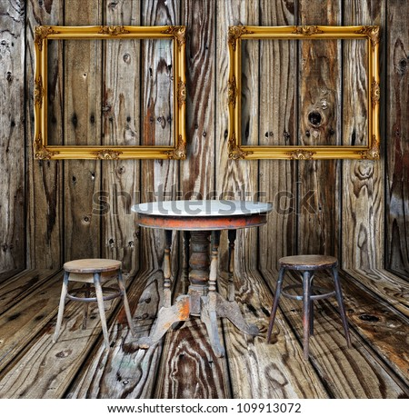 Picture Frame Furniture Vintage Wood Room Stock