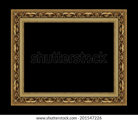 Picture Frame antique isolated on black background.