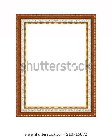 Picture frame carved wood frame Isolated on white background. - stock photo