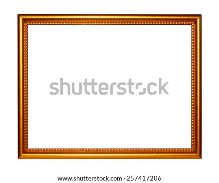 Picture frame gold dark tones wood frame in white background. - stock photo