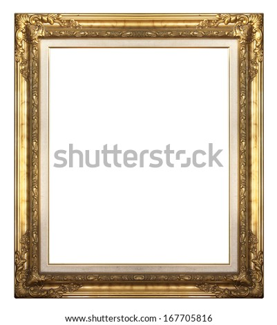 Picture frame gold wood frame on a white background. - stock photo
