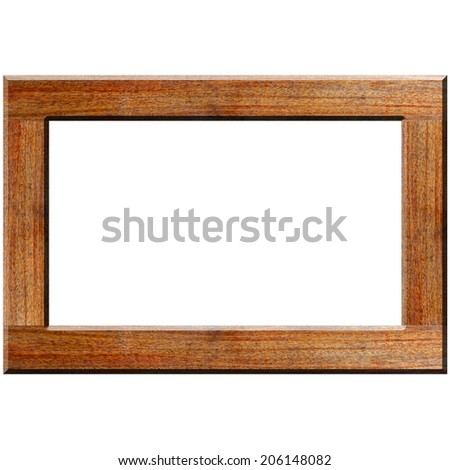 Picture frame in Wood texture on white background - stock photo
