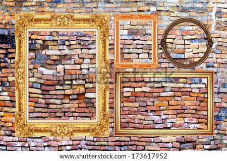 picture frame isolated on old brick wall background. - stock photo