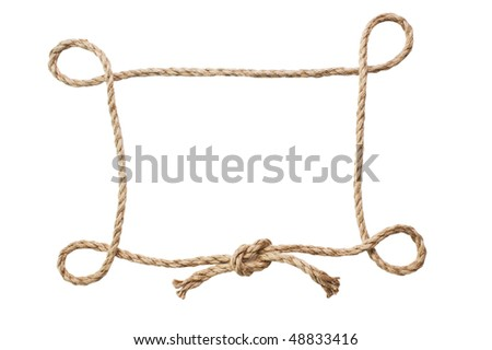 picture frame of rope isolated on a white background