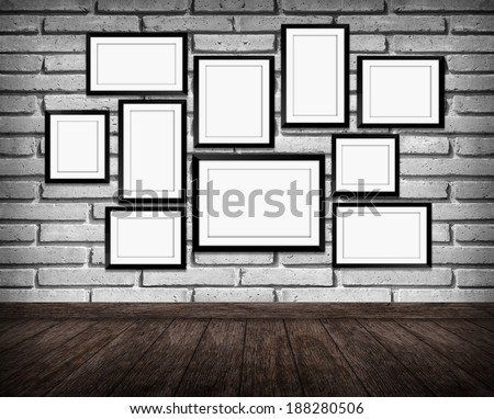 picture frame on brick wall in Interior of vintage room