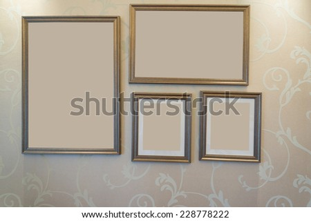 picture frame on wall with clipping paths