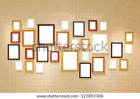 Picture frame , Photo art gallery on the wall. copy space great for your design - stock photo
