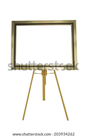 picture frame with wood stand isolated on white background