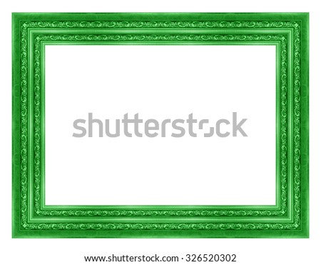 picture frame wooden gold Carved pattern isolated on a white background. - stock photo