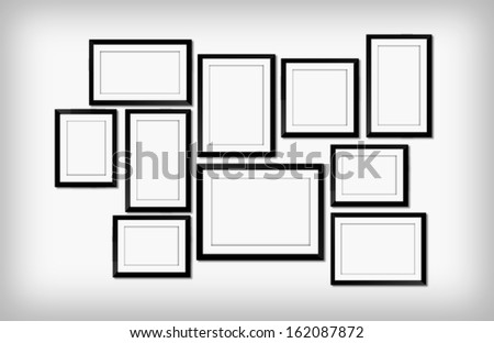 picture frames on wall  - stock photo