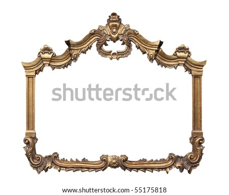 Picture gold frame with a decorative pattern. - stock photo